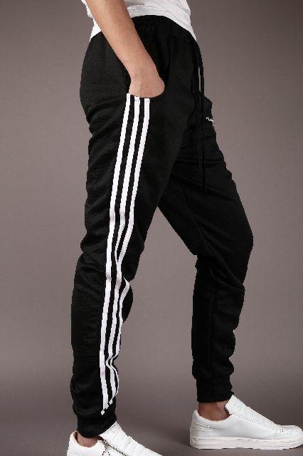 メンズ スウェット ジョガーパンツ 3本ライン ブラック L