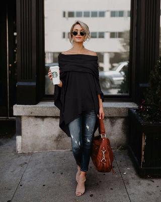 新品胸元綺麗ふんわりポンチョ風トップス ブラック XL