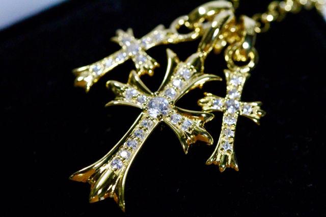 ダイヤパヴェ 3連ネックレス  高品質厚メッキ&A5ストーン