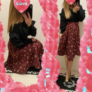 コーデセット♡レースフリル袖ニット+花柄フレアスカート♡