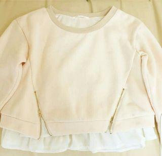 PAGEBOY裾フリルジッパー付きベージュ長袖