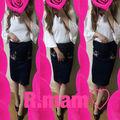 コーデフレア袖トップス+お花刺繍デニムひざ丈スカート