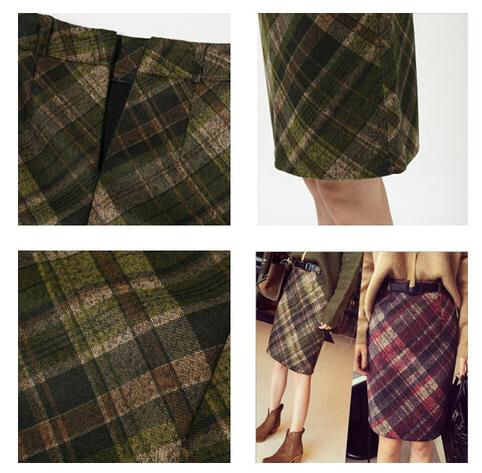 グリーン ブラウン チェック柄 スカート