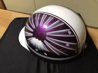 新品塗装 紫ラメ 富士日章 コルク半 ヘルメット ミツボタン