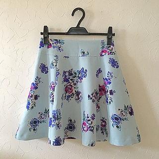 ViS 花柄 水色フレアスカート