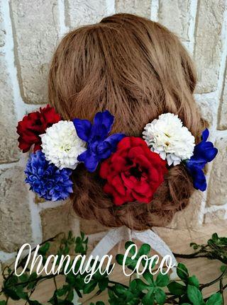真っ赤な薔薇と青いマムの髪飾り7点Set No139