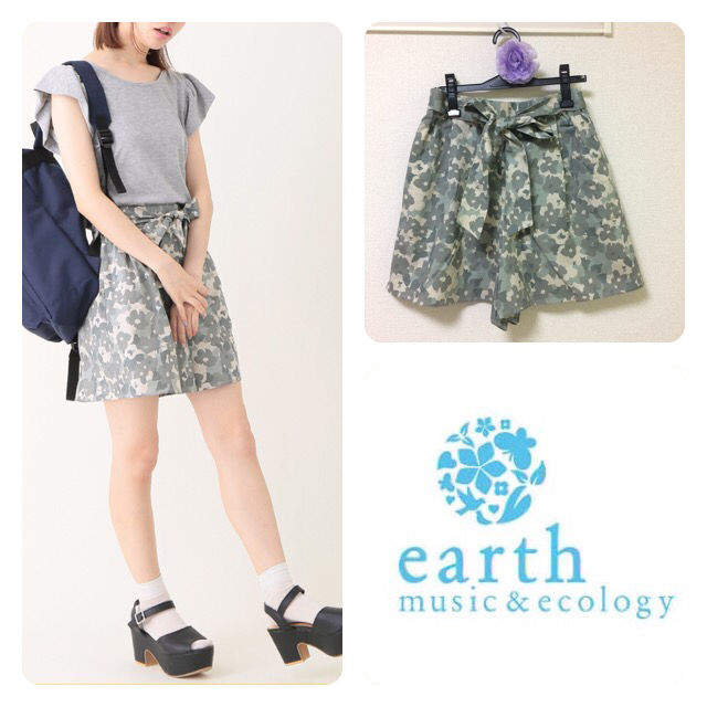 earth m&eカモフラ柄キュロット