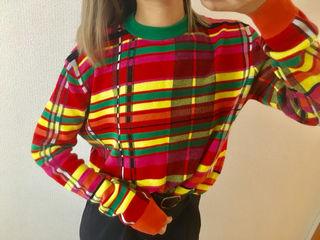 カラフル チェック ニット セーター