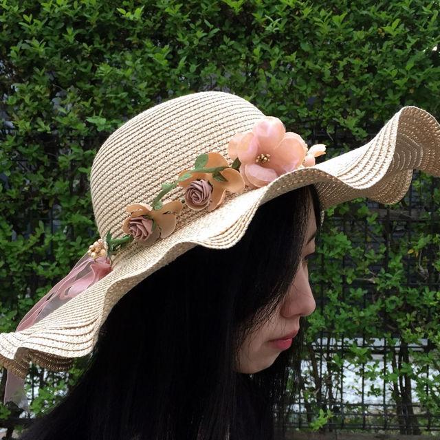 フラワー女優帽 波型 リボン付き ストローハット ブラウン
