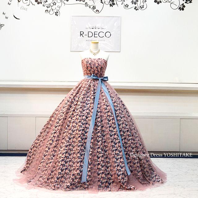 ウエディングドレス(パニエ無料) ピンク・紺迷彩柄