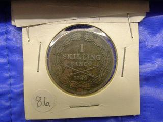 1849年☆スウェーデン古いコイン☆アンティーク