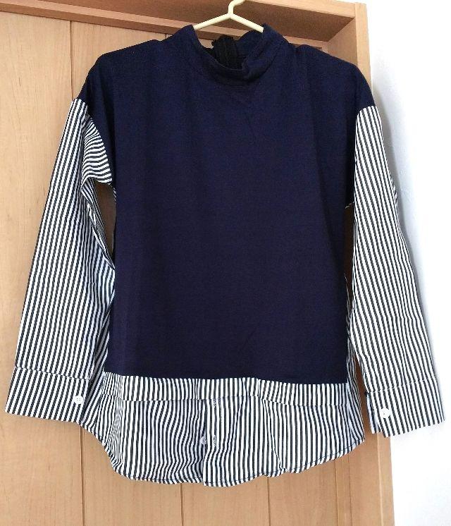 ベスト一体型 シャツ 紺 ブラウス 重ね着風 カットソー