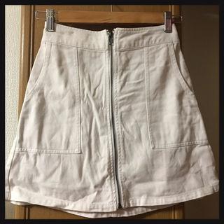【処分価格!!】フロントジップ台形デニムスカート