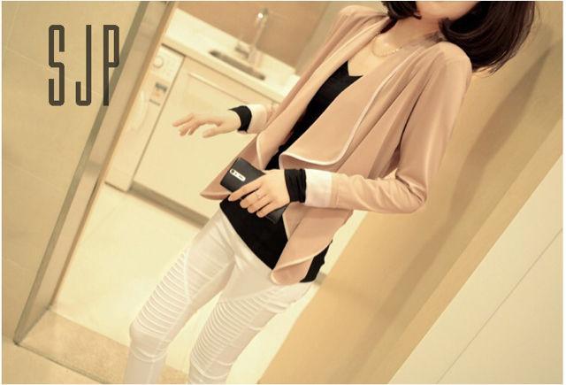 【FREE・ベージュ×ホワイト】パイピングジャケット