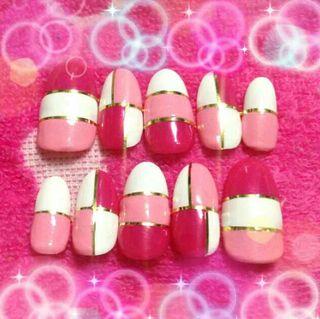 ピンク系パレットマーブルネイル