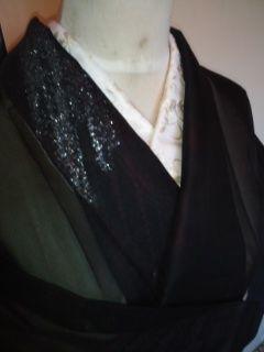 黒☆上品銀ラメ夏ヒトエ正絹紗お召未使用151