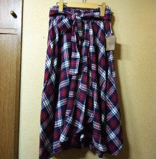 ESTACOT★ネルチェックフィッシュテールスカート/L