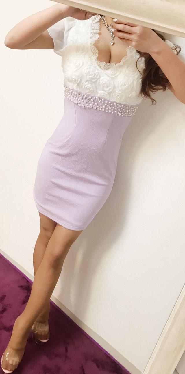 最終価格キャバドレス 白×薄紫