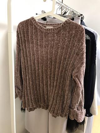 guモールヤーンワイドリブセーター