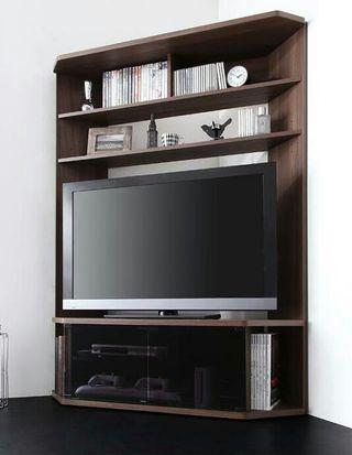 テレビ台 120cm コーナー・壁面収納型 ブラウン