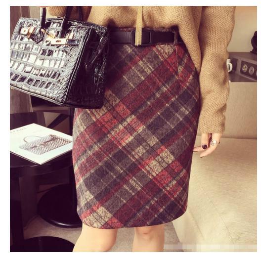 レッド ブラウン チェック柄 スカート