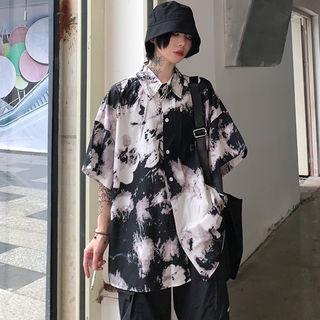 シャツ レディース【白・XL】 五分袖 半袖 絞り染め花柄