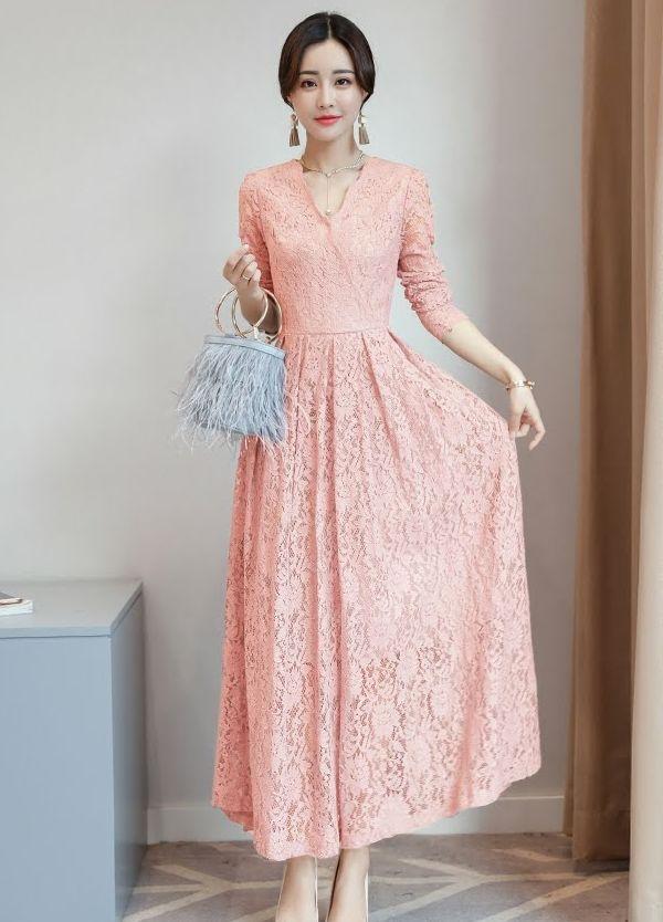 総レスロングワンピース 結婚式 二次会お呼ばれドレス