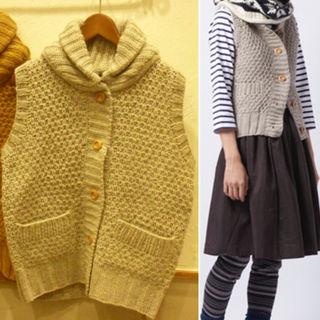 ニコアンド*ニットベスト ウール100% ざっくり編み 冬
