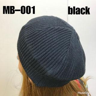 新品未使用品☆綿ニット☆ベレー帽~MB001ブラック