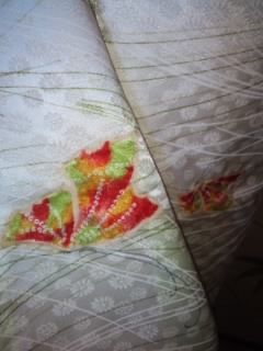 艶淡レモン蝶々小紋化繊袷153チョー美品レタP