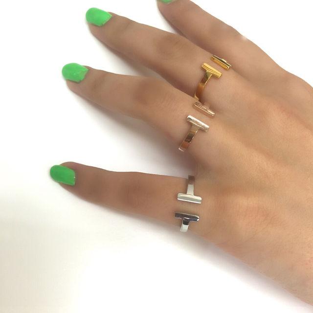 チタンステンレスT字指輪 サイズ調整可能