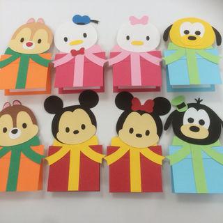 プレゼントBOX付ツムツム  メッセージカード ハンドメイド