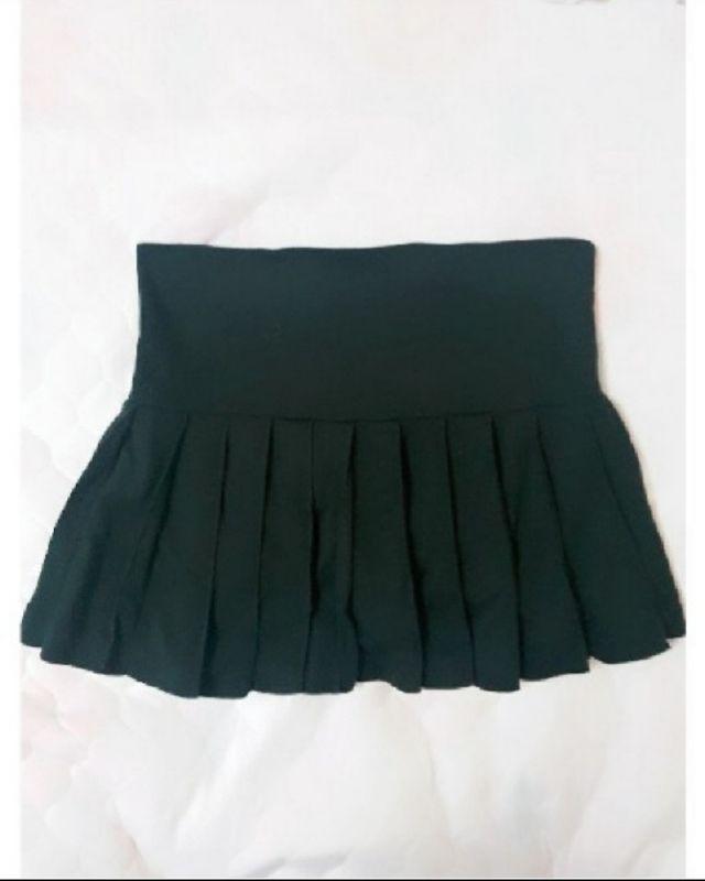 黒 プリーツスカート ウエストゴム 中ショーパン L