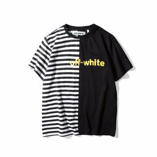 OFF WHITE スプライス Tシャツ 切り替え 男女通用