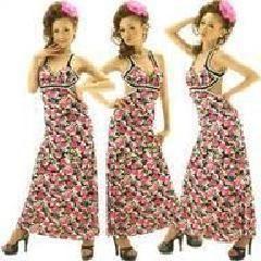 花柄ロングドレス