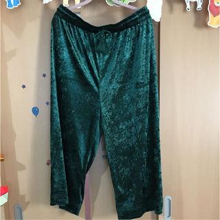 新品未使用タグ付き ベロア素材グリーンのズボン 4L