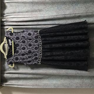 新品 リランドチュール ワンピース ビジュー 黒 ブラック