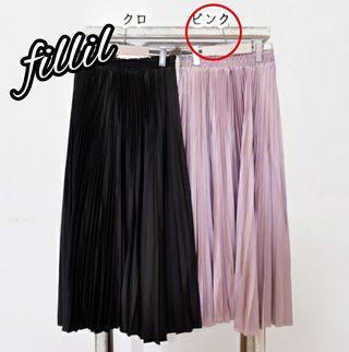 【Fillil】サテンプリーツロングスカート/ピンク