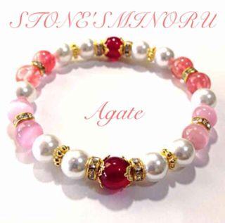 ピンクとパールの可愛いレディースのパワーストーン 数珠