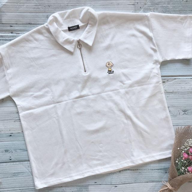 新品 チャーリーブラウン 刺繍 韓国 Tシャツ