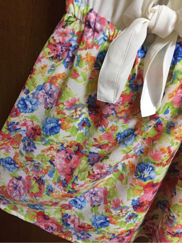 総レース襟付き袖フリル花柄タンクワンピ