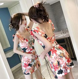 【DressNandy】ポップ花柄ミニサロペットパンツドレス