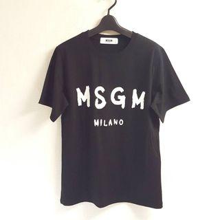 新作MSGM系 半袖Tシャツ(ブラック×ホワイト)