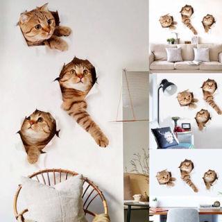新品未使用どでか猫壁紙シール3匹セット