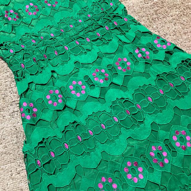 刺繍 フラワー グリーン レース ノースリーブ ワンピース