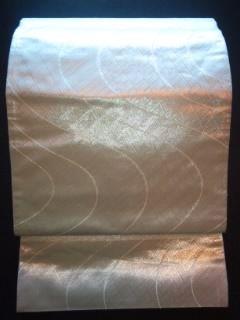 銀*通し☆曲線★袋帯正絹六通チョー美品