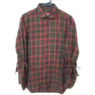 バツボーイズ デザイン チェック リボン シャツ