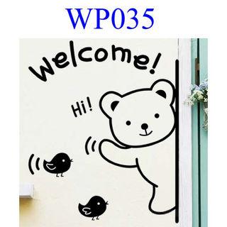 Welcome くまさん ウォールシール WP035