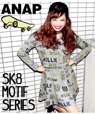 ANAP スケボーモチーフ柄スウェットサーキュラースカート