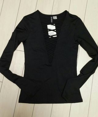 XS~新品H&M長袖レースアップ編み上げカットソーブラック
